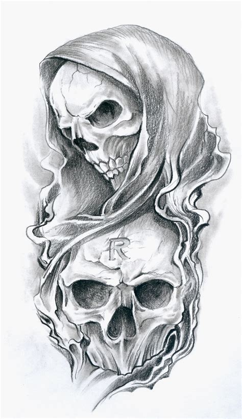 biomechanical skull face tattoo design photos pictures
