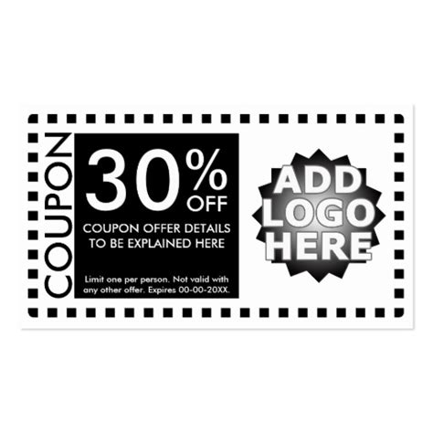 coupon card template coupon template business card zazzle