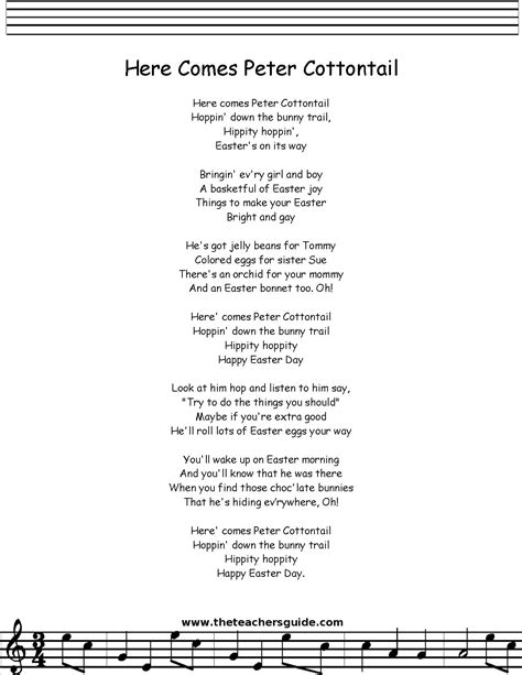 printable lyrics here comes peter cottontail peter cottontail lyrics printout midi and video