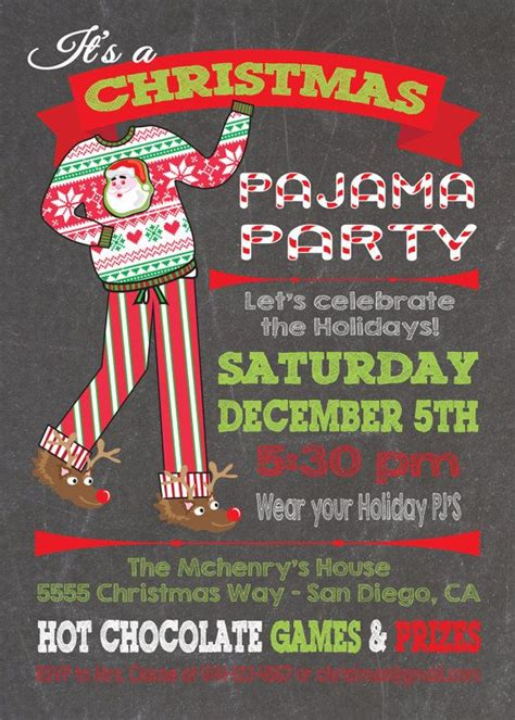ideas for funny christmas pajama party chalkboard pajama invitations s