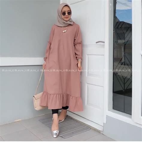 Atasan Wanita Kantong baju atasan muslim wanita tunik polos model terbaru
