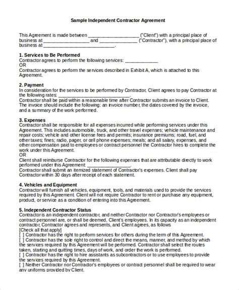 sle independent contractor agreement form 11 free