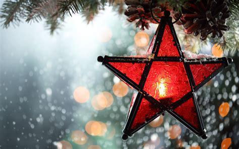 wallpaper snowfall christmas lantern winter bokeh