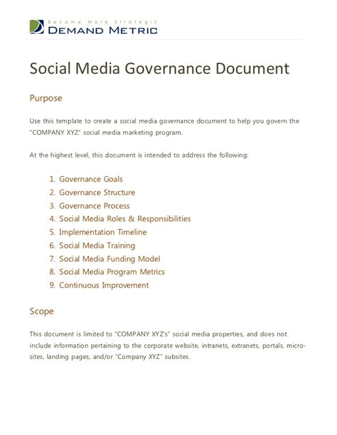Social Media Governance Document Social Media Governance Template