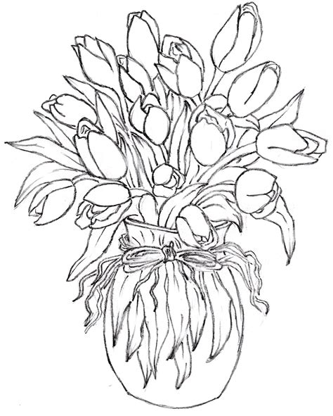 Flower In Vase Drawing by Flower Vase Design Drawing