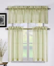 Beige Kitchen Curtains Metallico Taupe Beige 3 Kitchen Window Curtain Set Valance Tiers Ebay