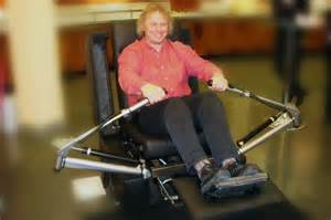 armchair recliner turned fitness trainer and rowing
