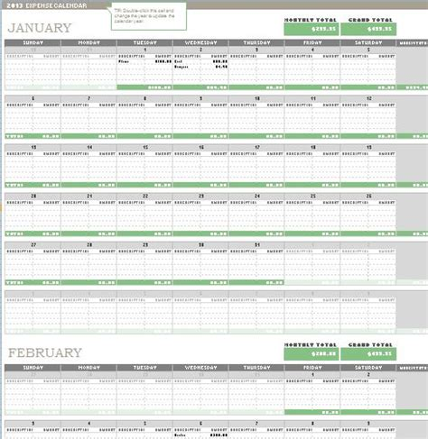 any year calendar template any year expense calendar template formal word templates