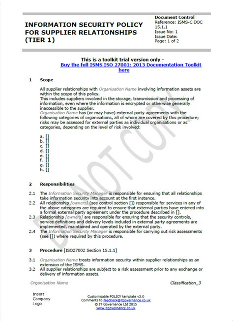 company security policy template iso 27001 documents overcoming your writer s block it