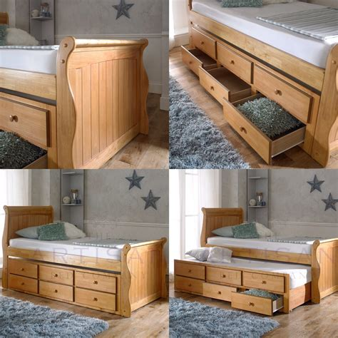 oak captains bed oak captain bed pull out guest trundle bed inc 3 drawers