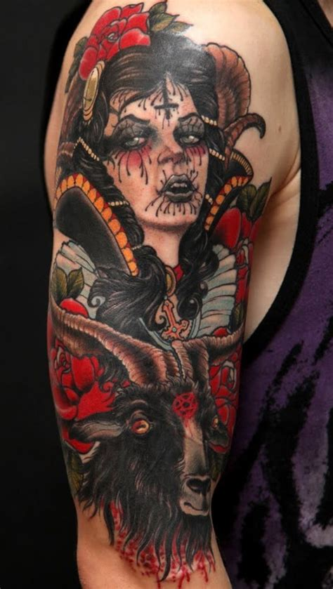 new school goat tattoo new school style colored shoulder tattoo of demonic woman