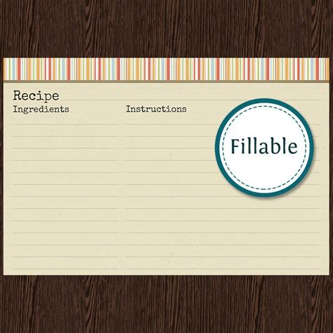Fillable Recipe Card Template by Recipe Card V1 Fillable Recipe Card 6x4 Inches Instant
