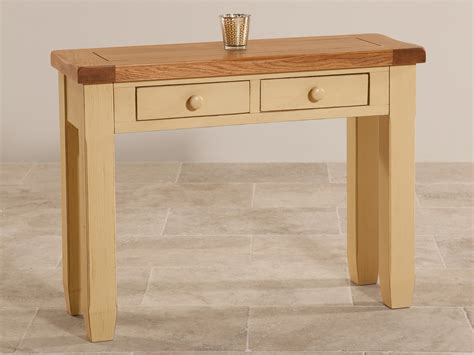 Shabby Chic Console Table Shabby Chic Rustic Oak And Painted 2 Drawer Console Table