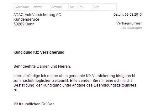 Adac Kfz Versicherung Per Email K Ndigen adac versicherung k 252 ndigen vorlage chip