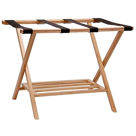 bed bath and beyond luggage rack household essentials 174 bamboo luggage rack with tray bed