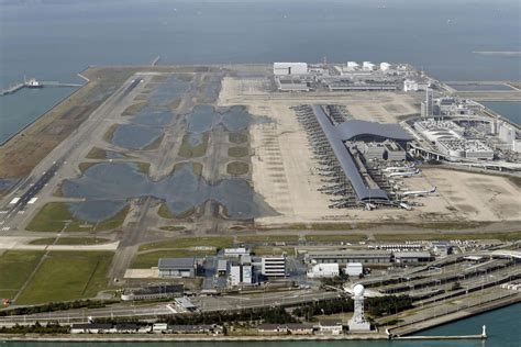 Kansai Airport Sinking by Stranded Leave Flooded Airport After Typhoon In