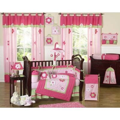 Pink And Green Crib Bumper by Flower Pink And Green Crib Bedding Collection