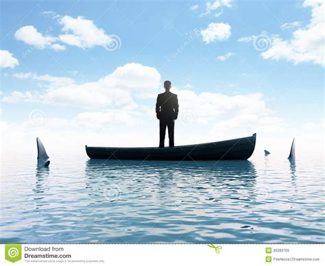 sinking boat surrounded by sharks businessman and sharks royalty free stock photo image