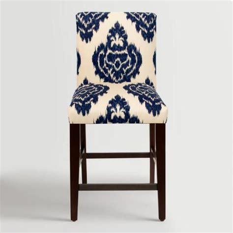 blue upholstered bar stools blue kerri upholstered counter stool world market