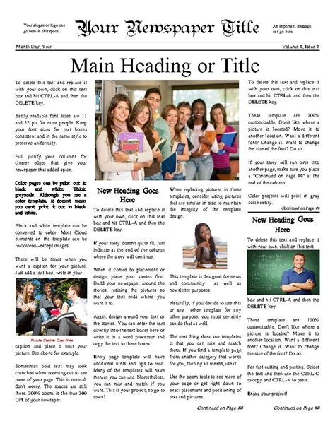 classic newspaper template classic newsy front page for any school try this 11 quot x14