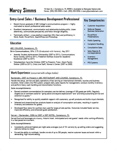 entry level sales resume sle monster com