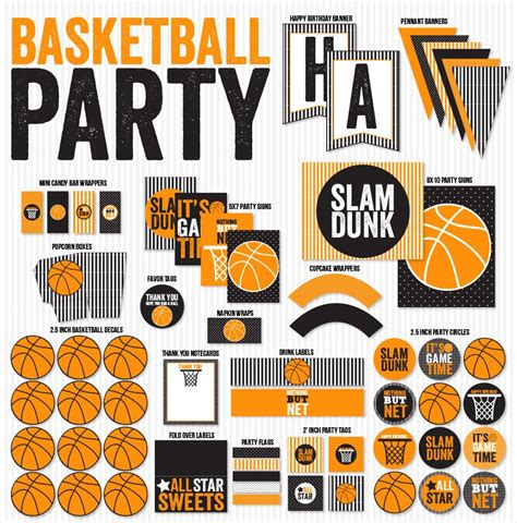 free printable basketball birthday decorations basketball party ideas new printable collection