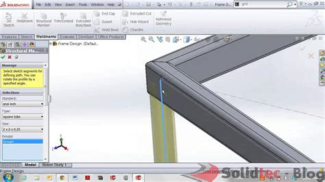 Frame Design In Solidworks | frame designs with solidworks weldments youtube