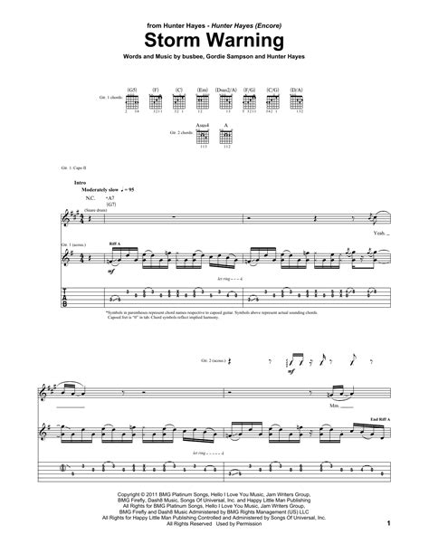 chords to tattoo hunter hayes storm warning by hunter hayes guitar tab guitar instructor