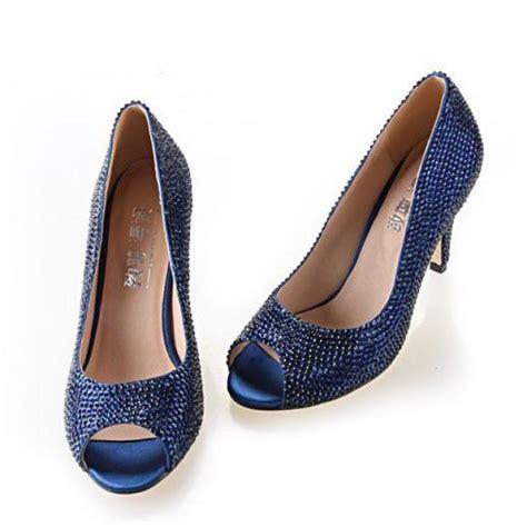 navy blue rhinestone wedding shoes shoes