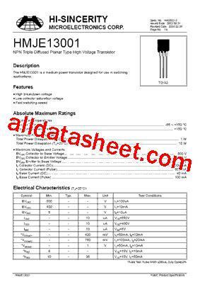datasheet of transistor 13001 hmje13001 datasheet pdf hi sincerity mocroelectronics
