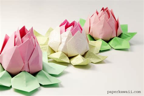 Simple Origami Lotus Flower - modular origami lotus flower tutorial paper kawaii