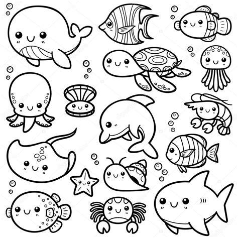 imagenes de animales juntos para colorear animales del mar vector de stock 169 sararoom 58321037