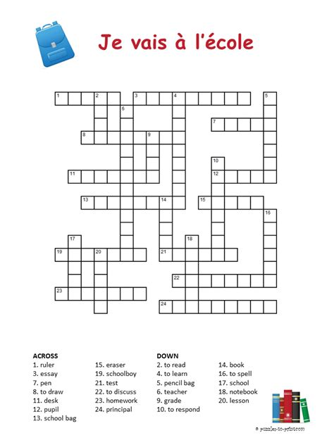 Easy Crossword Puzzles In French | french school vocabulary crossword puzzle