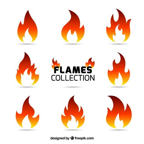 color flames variety of nine colored flames vector free