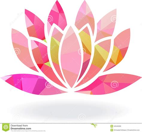 abstract geometric lotus flower in multiple colors stock