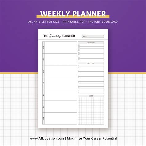 Weekly Insert Regular Size printable weekly planner weekly schedule weekly organizer a5 inserts a4 letter size