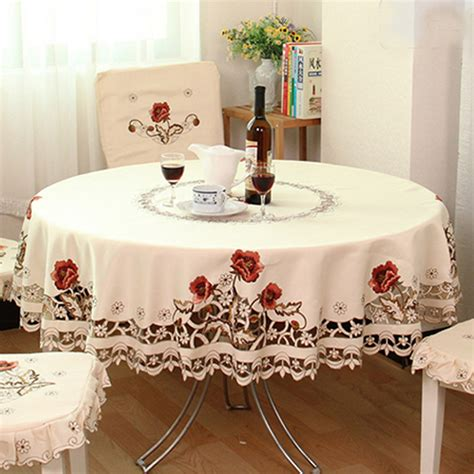 Wedding Tablecloths by Yazi Embroidered Peony Flower Fabric Lace