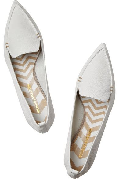 white flat pointed shoes nicholas kirkwood textured leather point toe flats net