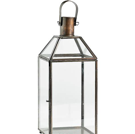 metal hurricane lantern by bell blue