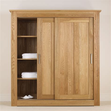 Quercus Solid Oak Sliding Door Wardrobe 1 8m Con Tempo Bedroom Furniture Wardrobes Sliding Doors