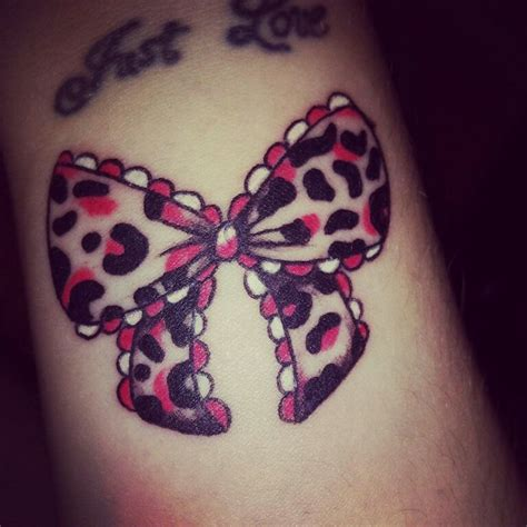 leopard print wrist tattoo bow wrist pretty girly bow leopard print