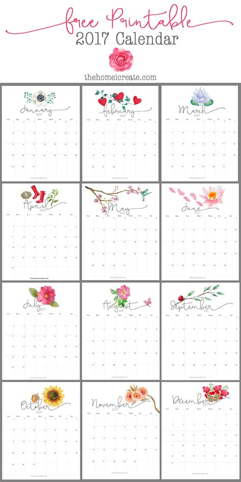 printable calendars pretty free 2017 printable calendar printable calendars easy