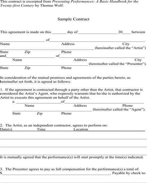 simple contract template free simple contract template for pdf