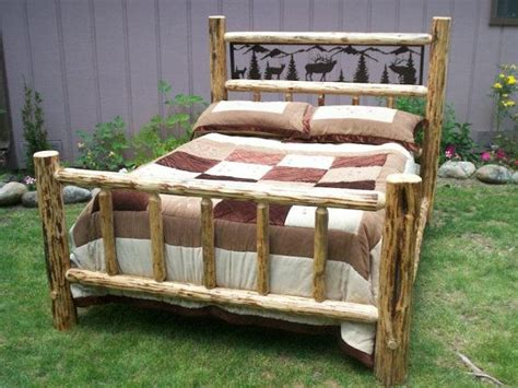 Pine Log Bed Frame Size Complete Rustic Iron Style Pine Log Bed Frame W Wildlife