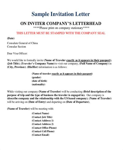 business letter sle visa application business invitation letter sle visa 28 images business