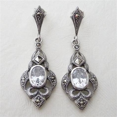 silver deco inspired marcasite earrings by katherine