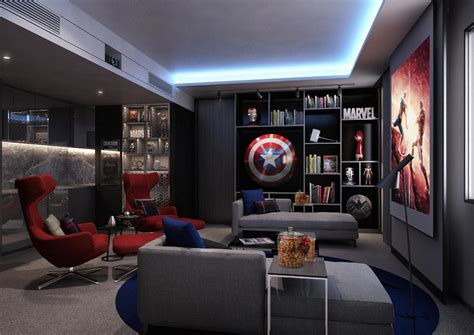 comic book themed living room four suites will special cinematic themes including one devoted to s superheroes