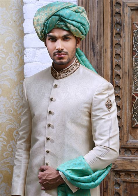 simple elegant mens wedding sherwani collection  amir