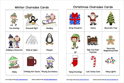 printable charades cards winter and christmas charades free printable game for kids