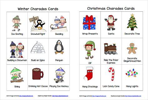 printable winter board games winter and christmas charades free printable game for kids
